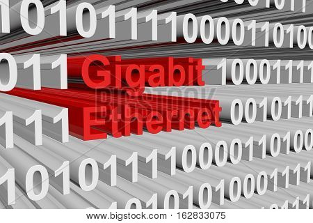 Gigabit ethernet as a binary code 3D illustration