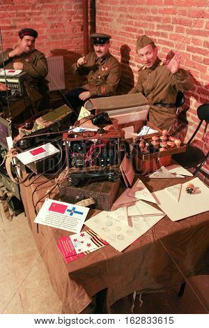 St. Petersburg, Russia - 2 December, Exposure phones and objects of the war years, 2 December, 2016. Visit musketeer chambers of the Peter-Paul Fortress in the framework of the cultural forum in St. Petersburg.