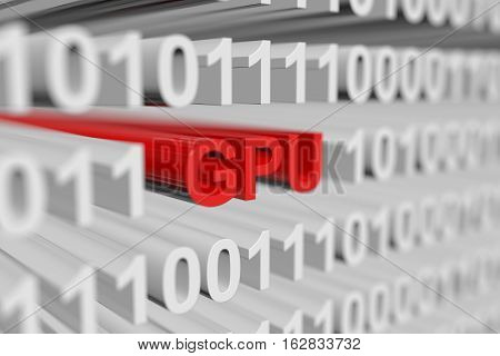 GPU is represented as a binary code with blurred background 3d illustration