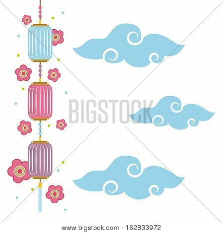 chinese lanterns hanging and flowers decorations over clouds and blue background. colorful design. vector illustration