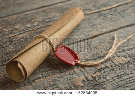 Old manuscript with sealing wax stamp from