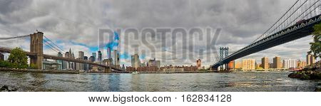 Manhattan And Brooklyn Bridges From Brooklyn. Cityscape Of New York