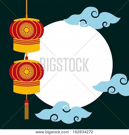 chinese lanterns hanging and blue clouds over white circle and black background. colorful design. vector illustration