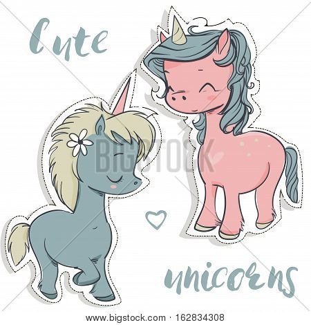 pink and blue cartoon cute fairytale unicorns