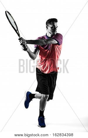 Young man is playing tennis in silhouette on white background