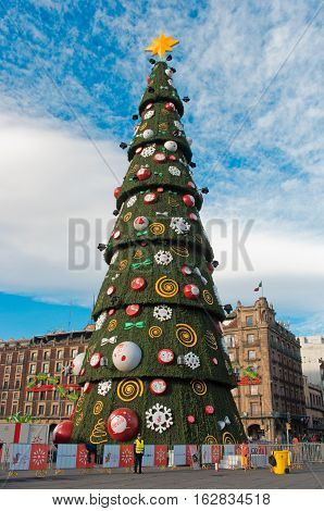 Metropolitan Cathedral And Christmas Tree Decorations In Zocalo. Mexico City