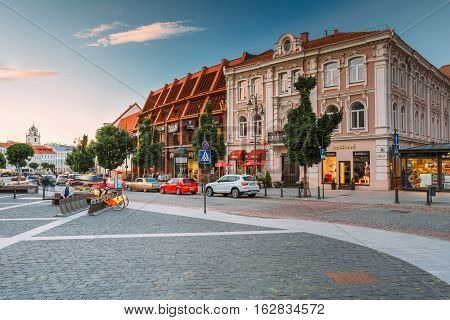 Vilnius, Lithuania  - July 8, 2016: The View Of Spacious Rest Zone On Didzioji Street, The Ancient Showplace In Old Town With Outdoor Cafe In Summer Day Under Blue Sky With Clouds.