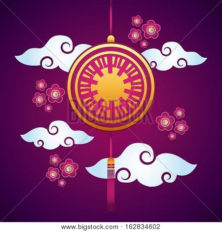 chinese decoration hanging and flowers over clouds and purple background. colorful design. vector illustration