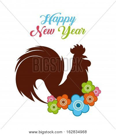 happy new year card. chinese year of rooster. colorful design. vector illustration