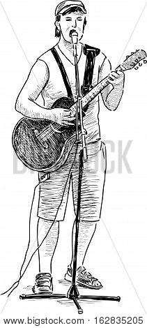 Vector sketch of an young street guitarist.
