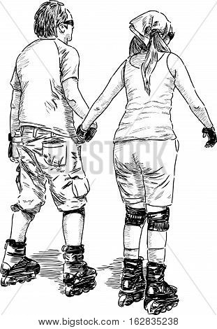 Sketch of the young couple riding on the roller skates.