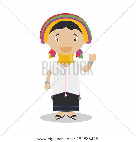 Padaung girl character from Myanmar (Kayan Tribe) dressed in the traditional way Vector Illustration. Kids of the World Collection.
