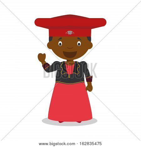 Character from Namibia (Herero Tribe) dressed in the traditional way Vector Illustration. Kids of the World Collection.