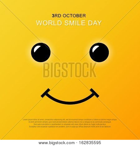 Smiley face. Yellow smile poster. World smile day. Vector illustration