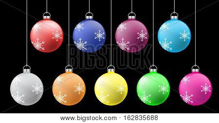 christmas ball colorful set for new year illustration