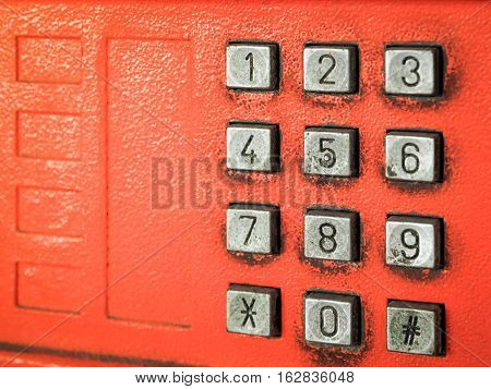 Old button number public telephone, Close up image with place your text
