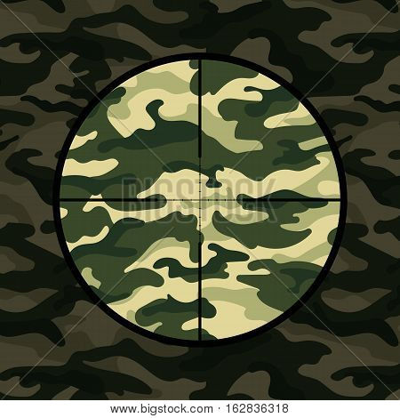Military background with sniper scope on green camouflage. Vector