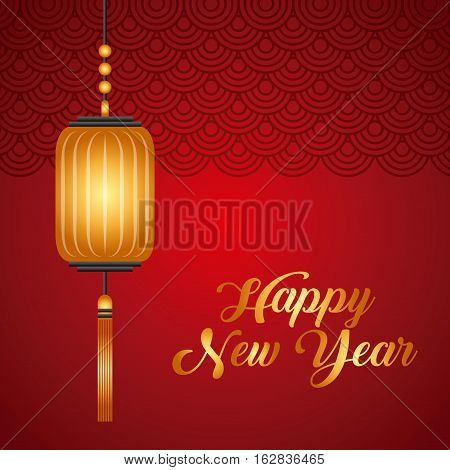 chinese lantern hanging icon over red background. happy new year concept. colorful design. vector illustration