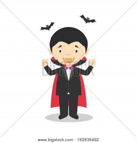 Character from Romania dressed as a vampire of Transilvania. Vector Illustration. Kids of the World Collection.
