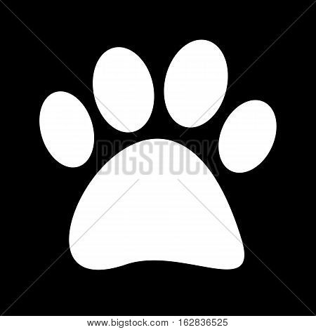 Vector illustration of a white fingerprint tetradigitate paws on black background.