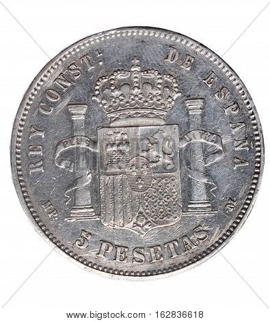 Reverse of coin of Alfonso XIII five pesetas un duro 1888Spain