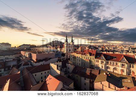 Evening over the city of Brno Morawia Czech Republic Europe.