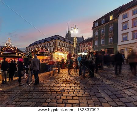 Christmas celebration on the square in old town of Brno Czech Republic.