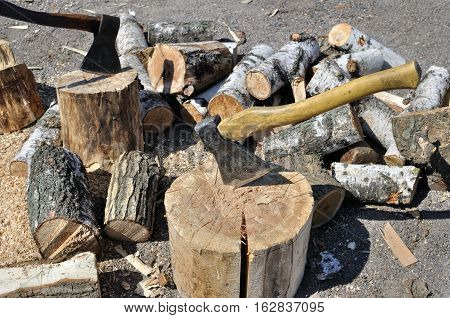 axes for chopping firewood in the backyard