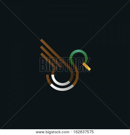 Duck logo. Line art vector illustration. Bird in fly. Logo for hunting and tourism. Bird design template