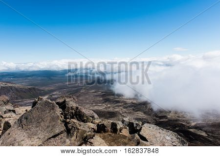 The summit of Mount Tongariro, reached to by hiking the Tongariro Alpine Crossing in New Zealand