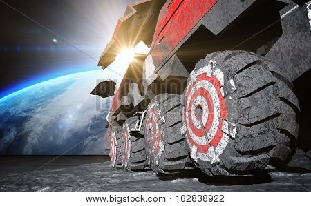 Moon rover on the moon. space expedition. moon surface. 3d rendering.