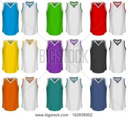 Vector Illustration of Basketball Jerseys. Best for Basketball, Sport, Clothing, Design Element concept.