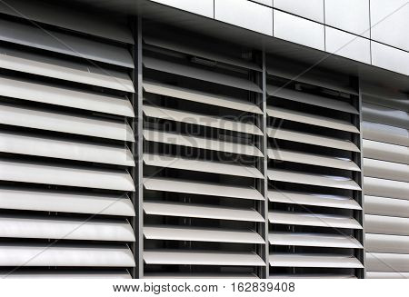 metallic window shutter at the office building innovation technique