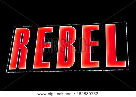 The word REBEL spelt out in lights.