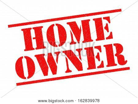 HOME OWNER red Rubber Stamp over a white background.