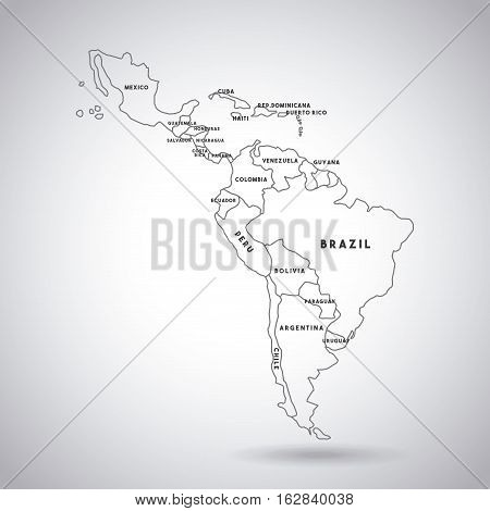 latin america map with the names of the countries icon over white background. vector illustration