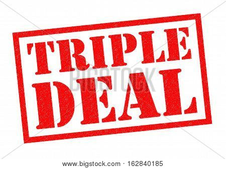 TRIPLE DEAL red Rubber Stamp over a white background.