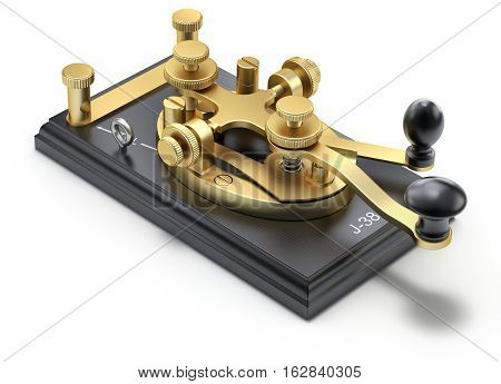 Morse code telegraphy device on white background - 3D illustration