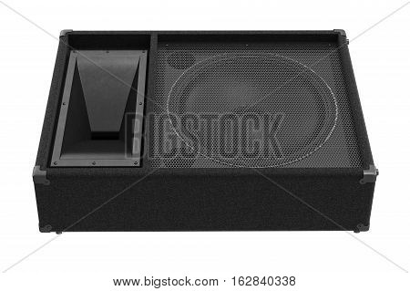 Speaker audio woofer heavy amplifier, front view. 3D rendering