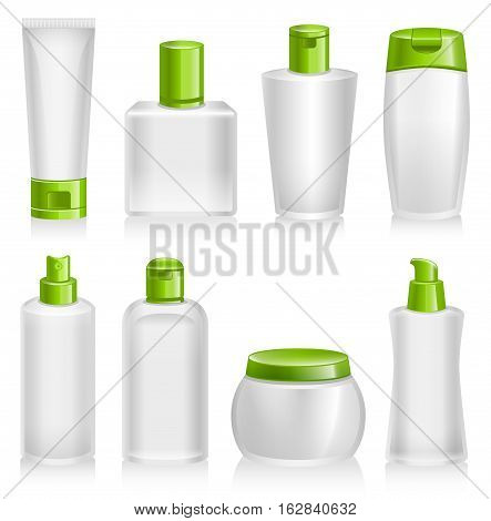 Vector Illustration of Cosmetic Products. Best for Beauty and Health, Cosmetics, Merchandise, Natural Products, Body Care, Healthy Lifestyle, Packaging, Design Elements Concept.