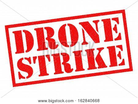 DRONE STRIKE red Rubber Stamp over a white background.