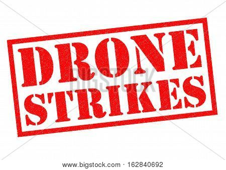 DRONE STRIKES red Rubber Stamp over a white background.