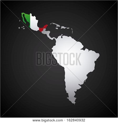 latin america map with the mexico country flag  over black background. vector illustration