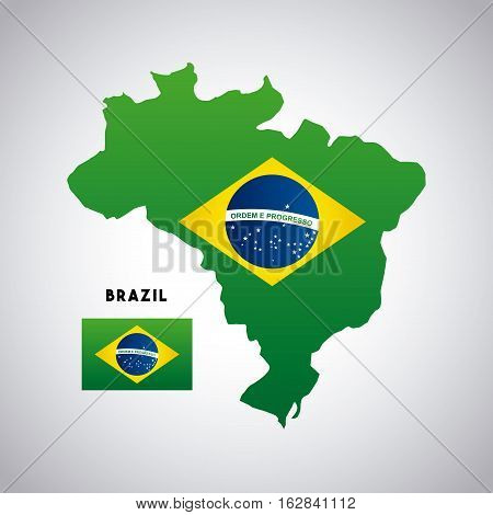 brazil flag on country map icon over white background. colorful design. vector illustration