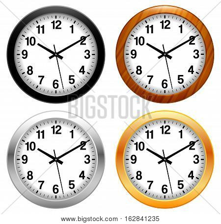 Vector Illustration of Clocks. Best for Time, Design Element, Measurement Concept.