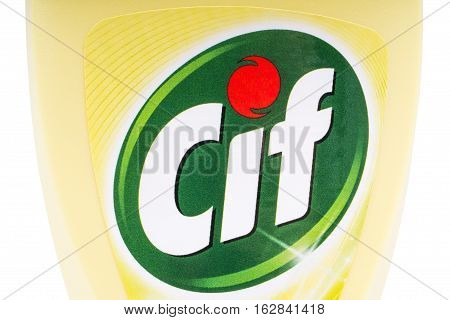 LONDON UK - OCTOBER 13TH 2016: A close-up of the Cif logo on one of the brand's household cleaning products on 13th October 2016. The brand is owned and produced by the Unilever company.