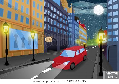 Night Cityscape. A Car. High-rise Buildings. Cartoon Style.
