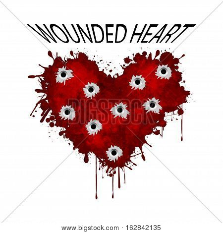 Illustration wounded heart on a white background.
