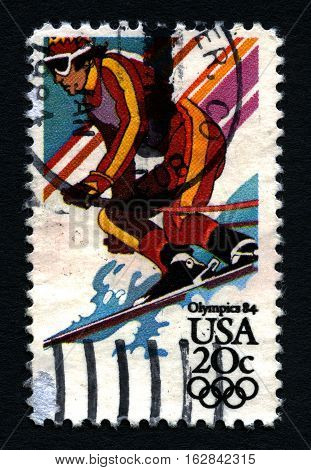 UNITED STATES OF AMERICA - CIRCA 1984: A used postage stamp printed in America dedicated to the 1984 Olympic Games circa 1984.