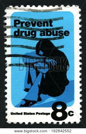 UNITED STATES OF AMERICA - CIRCA 1971: A used postage stamp from the United States of America dedicated to the prevention of drug abuse circa 1971.